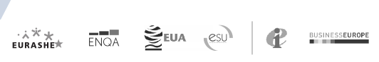 Logos of EURASHE, ENQA, EUA, ESU, Education International and BUSINESSEUROPE